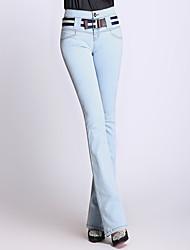 Damen Vintage Einfach Hohe Hüfthöhe Dehnbar Jeans Bootcut Hose einfarbig