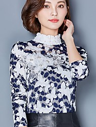 Women's Going out Casual/Daily Work Cute Street chic Blouse,Floral Stand Long Sleeve Polyester