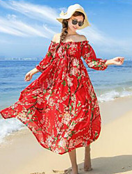 Women's Beach Loose Swing Dress,Floral Boat Neck Maxi ¾ Sleeve Silk Summer High Rise Micro-elastic Thin