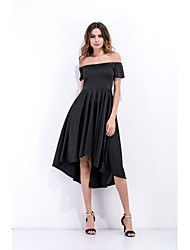 Women's Going out Beach Holiday Sexy Simple Cute Swing Trumpet/Mermaid Dress,Solid Boat Neck Asymmetrical Short Sleeve RayonAll Seasons