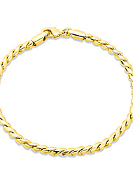 Consise 18K Yellow Gold Plated S Style Twisted Rope Bracelets Womens Elegant Jewelry Lucky Female Bracelet
