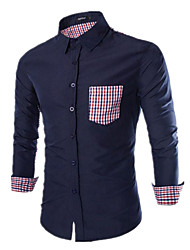 Men's Fashion Casual Pocket Simple Plaid Decorative Long Sleeve Shirt