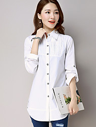 Really making 2017 spring solid color big yards female long-sleeved white shirt loose long section was thin T-shirt shirt
