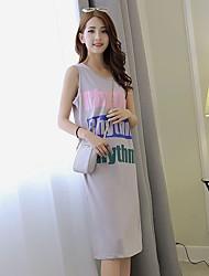 Sinal verão nova onda de letras impressas vestido sem mangas coreano estudantes femininos solta no vestido