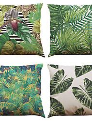 Set of 4 Tropical Plants Pattern  Linen Pillowcase Sofa Home Decor Cushion Cover