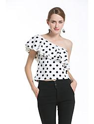 Signo amazon aliexpress comercio explosión modelos 2017 nuevas mujeres&# 39; s hombro de gasa camisa polka dot