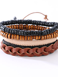 The New Vintage Cowhide Ancient Hand Woven Bracelet Cortical Layers Hand Rope Men's Bracelet Adjustable Size042