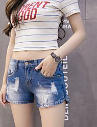 Trou de taille haute denim shorts féminin été des étudiants coréens lâches un simple et large jambe pantalons sauvages 5011 #