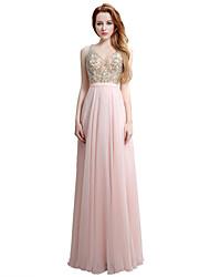 Formal Evening Dress Sheath / Column V-neck Floor-length Chiffon with Embroidery