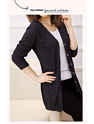 Women's Casual/Daily Cute Regular Cardigan,Solid V Neck Long Sleeves Rayon Spring Fall Medium Micro-elastic