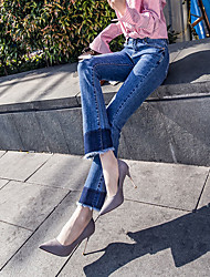 Weila jeans female bell-bottoms burr hole was thin loose elastic pantyhose spring and summer wide leg pants