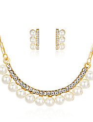Lucky Doll Jewelry Set Fashion Classic Imitation Pearl Rhinestone Gold Plated Alloy Jewelry 1 Necklace 1 Pair of Earrings ForParty Gift Daily Office