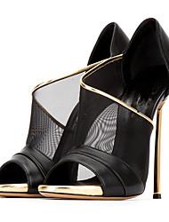 Women's Sandals Summer Fall Club Shoes Comfort Novelty Sheepskin Tulle Wedding Outdoor Party & Evening Dress Casual Stiletto Heel Walking