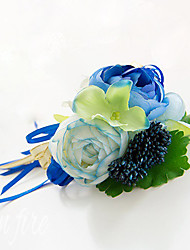 Wedding Flowers Free-form Roses Boutonnieres Wedding Party/ Evening Blue Satin