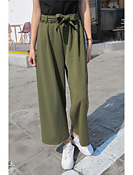 Spring 2016 Korean version of casual female high waist wide leg was thin pantyhose seventh straight trousers wide leg pants