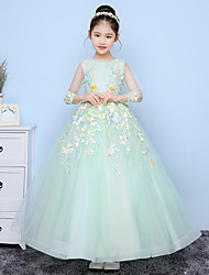 Floor-length Tulle Junior Bridesmaid Dress A-line Jewel with Appliques