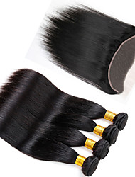 Vinsteen Brazilian  Unprocessed Straight  Hair Extensions Dyeable Great Quality Hair Weave Bundles 8A Cheap Hair with 13X4 inch Lace Frontal Closure