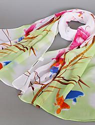 Women's Fashion Chiffon Cute Print Lotus Spring Summer Scarfs 160*50CM