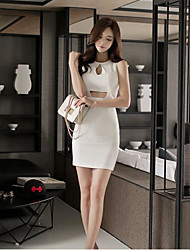 2016 summer new Women Korean fashion sexy package hip Slim sleeveless dress stitching hollow