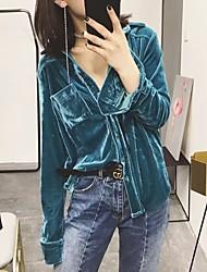 Damen Solide Einfach Lässig/Alltäglich T-shirt,Hemdkragen Langarm Polyester Mittel