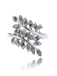 Ring For Women Statement Rings Rhinestones Euramerican Fashion Personalized Statement Jewelry Rhinestone Zinc Alloy Leaf Jewelry For Birthday