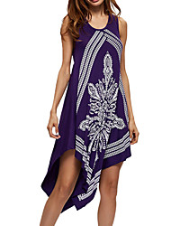 Women's Casual/Daily Work Simple Sheath Lace Dress,Solid Print U Neck Midi Asymmetrical Sleeveless Polyester All Seasons Low Rise