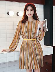 2017 moda nova vestido de impressão crimping casual com um modelo de cinto real tiro local