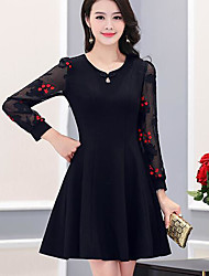 New spring dress women Slim V-neck long section of the Spring and Autumn fashion embroidered dress