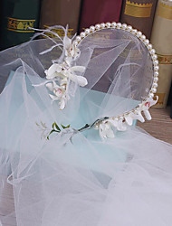 Tulle Imitation Pearl Fabric Headpiece-Wedding Special Occasion Outdoor Headbands 1 Piece