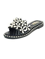 Mujer-Tacón Plano-Confort-Zapatillas y flip-flop-Vestido Informal Fiesta y Noche-PU-Blanco Negro