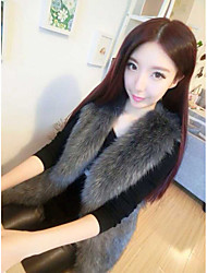 Women's Casual/Daily Simple Summer Cloak/Capes,Solid Shawl Lapel Sleeveless Regular Faux Fur