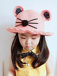 Girl's Lovely Fashionable Cat Ears Manual Soft Shade Is Prevented Bask In Straw Hats
