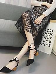 Damen-High Heels-Lässig-Wildleder-Stöckelabsatz-Komfort-Schwarz Gelb