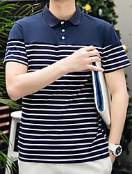2017 Sommer gestreifte Revers Männer&# 39; s kurz-sleeved T-Shirt koreanische Version des dünnen short-sleeved T-Shirt Polohemd