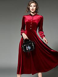 Mujer Vaina Vestido NocheUn Color Solapa de Pico Midi Manga Larga Poliéster Primavera Tiro Medio Rígido Medio