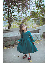 Girl's Casual/Daily Solid Dress,Cotton Spring Fall Long Sleeve