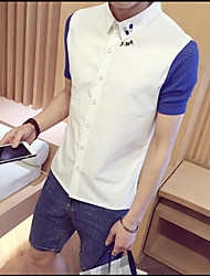 Men's Casual/Daily Simple Shirt,Solid Shirt Collar Short Sleeve Cotton