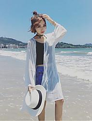 longa seção tiro real de sexo feminino casaco sol vestuário de protecção roupas de proteção solar casaco cor sólida ultra-fina