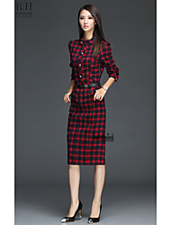 Original 2017 Hitz England plaid long-sleeved collar Slim thin long-sleeved dress in autumn