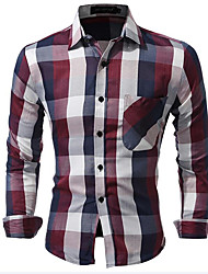 Men's Casual/Daily Simple All Seasons Shirt,Plaid Classic Collar Long Sleeves Cotton Polyester