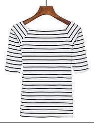 Damen Gestreift Einfach Lässig/Alltäglich T-shirt,Bateau Kurzarm Baumwolle