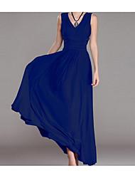 New European sexy v-neck halter Slim waist sleeveless dress skirt dress folds