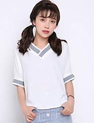 Real tiro verão 2017 versão coreana de uma cor sólida solta v-pescoço branco de manga curta mulheres t-shirt