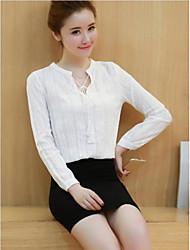 Zeichen frühes Frühlingsbaumwollt-shirt weibliches long-sleeved Baumwollhemd neue Frauen&# 39; s Drawstring Pullover Bluse