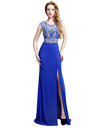 Formal Evening Dress Trumpet / Mermaid Jewel Sweep / Brush Train Jersey with Beading
