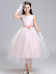 Ball Gown Tea-length Flower Girl Dress - Cotton Satin Tulle Sleeveless Jewel with Appliques Bow(s) Flower(s) Sash / Ribbon