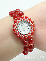 Women's Fashion Watch Quartz Jade Band Red Green