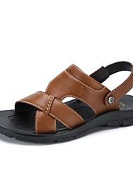 Camel Men's Casual Leather Sandals Non-slip Slip On Summer Beach Wear Flip Flop Color Black/Brown