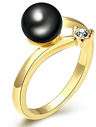 Ring Imitation Pearl AAA Cubic ZirconiaBasic Unique Design Rhinestone Geometric Friendship Cute Style Imitation Pearl Euramerican