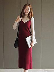 Mujer Recto Vestido NocheUn Color Con Tirantes Midi Sin Mangas Poliéster Primavera Verano Tiro Medio Elástico Medio